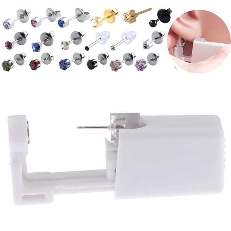 Disposable No Pain Safe Sterile Ear Stud Piercing Gun Kit Nose Stud Piercing Tool Kit Build In Steel Stud Earring