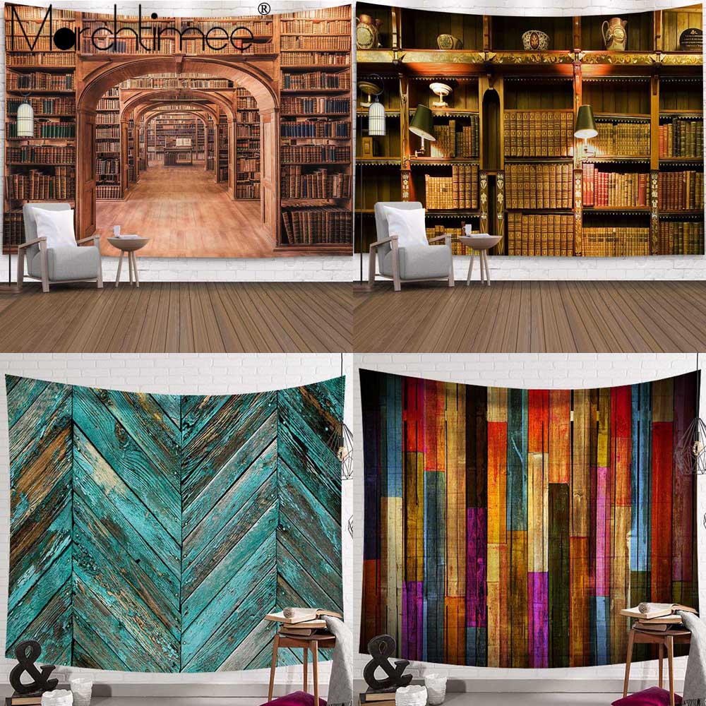 Bookshelf Style Tapestry Warm Feeling Beautiful Home Decoration Museum Wall Wooden Cool Polyester Thin Wall Hanging Table Cloth