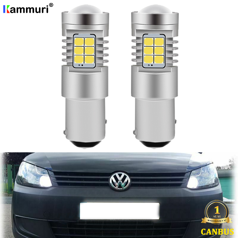 KAMMURI Xenon White No Error 1157 P21/5W Car LED Bulbs For Volkswagen VW Caddy 2010+ LED DRL Headlight Upgrade Bulbs Replacement