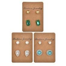 Card Round Geometric Earrings Sets for Women Fashion Rhinestone Imitation Pearl Earrings Set Wedding Bride Gift цена 2017