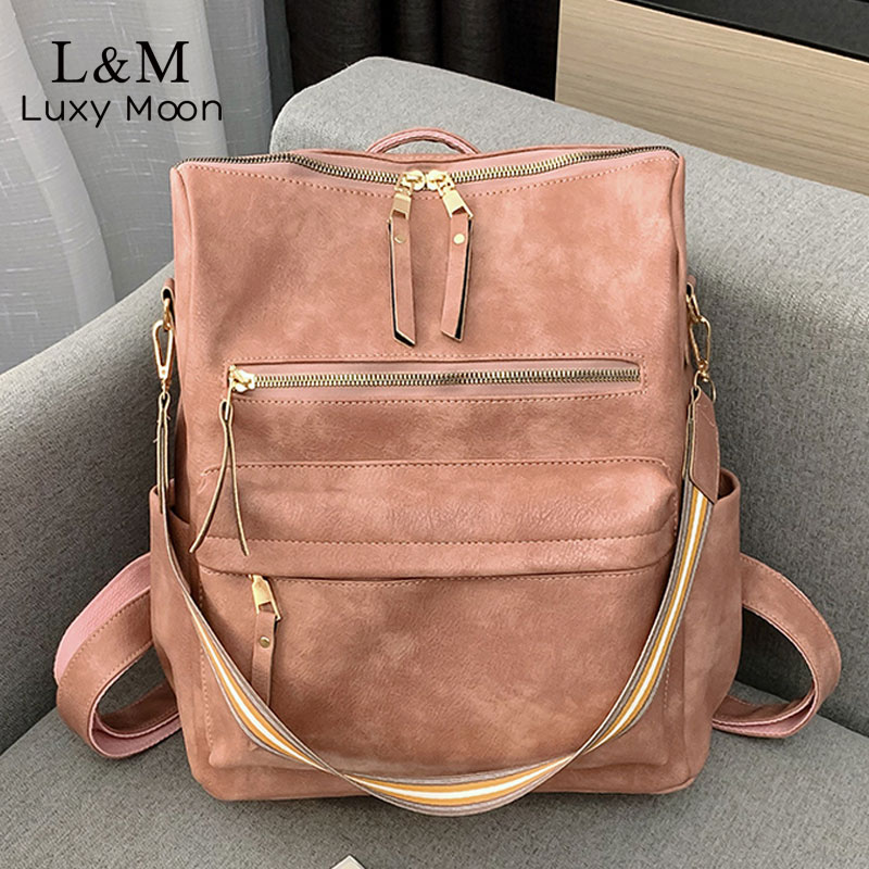 Retro Women Backpack School Bags For Teenage Girls Crossbody Bag Leather Backpacks Multifunction Big Female Rucksack 2019 XA585H
