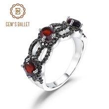 GEMS الباليه 1.35Ct الطبيعية العقيق الأحمر العتيقة نمط خاتم بثلاثة أحجار 925 الاسترليني خواتم فضة بالأحجار الكريمة للنساء غرامة مجوهرات