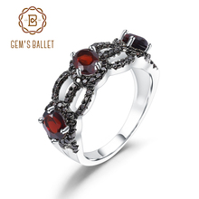 GEMS BALLET 1.35Ct Natural Red Garnet Antique Style Three Stone Ring 925 Sterling Silver Gemstone Rings For Women Fine Jewelry