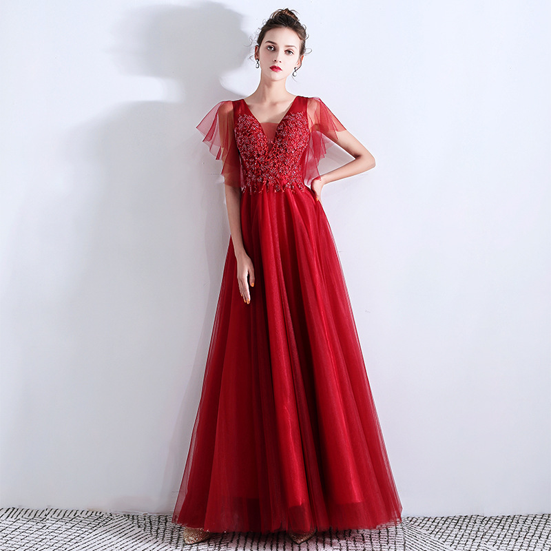 LAMYA 2019 Luxury Beading Long Evening Dresses Sexy V-Neck Formal Party Dress Elegant Tulle Prom Gown Robe De Soiree