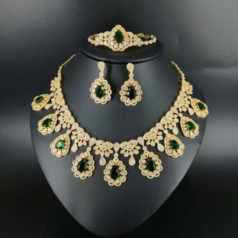 2019 new fashion vintage GREEN water drop CZ zircon necklace earring bracelet ring wedding bride Banquet dressing jewelry set