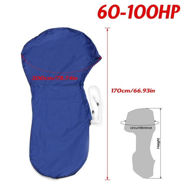 420D 60-100HP Boat Full Outboard Engine Motor Cover Waterproof Blue For 60-100HP