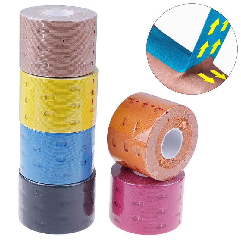 1 Rolls Elastic Kinesiology Sports Tape Physio Therapeutic Muscle Pain Injury Care Patch With Vents