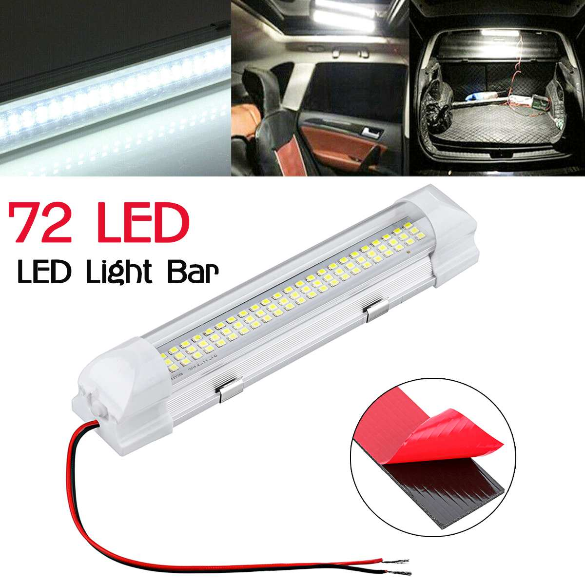 <font><b>12</b></font>-<font><b>80V</b></font> 72 <font><b>LED</b></font> Car Interior Inside Roof Top Light Lights Lamp Bar Strip With Switch Universal For Car Truck Lorry RV image