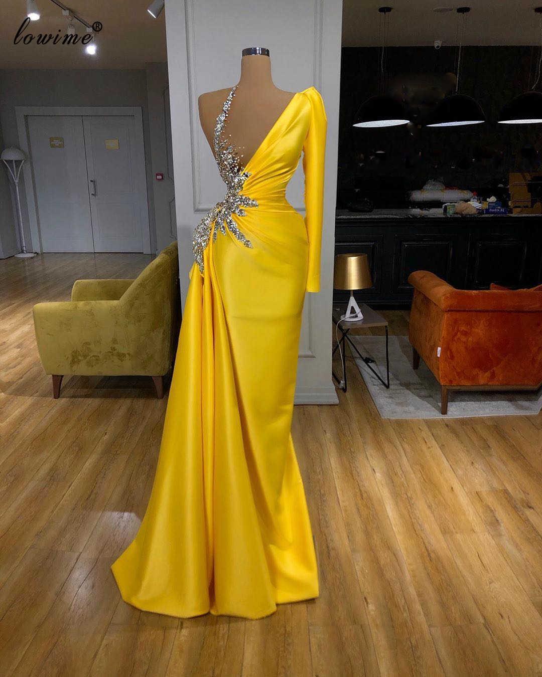 Желтые платья знаменитостей 2020, Русалка на одно плечо, женские платья с красным ковром, вечерние платья в арабском стиле
