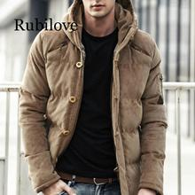 Rubilove New Men Winter Jacket Coat Fashion Quality Cotton Padded Windproof Thick Warm Soft Brand Clothing Hooded Male Parkas