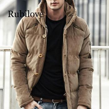 Rubilove New Men Winter Jacket Coat Fashion Quality Cotton Padded Windproof Thick Warm Soft Brand Clothing Hooded Male Parkas new winter men s cotton linen padded thickened jacket china style male jeans coat mens fashion casual warm denim parkas jacket