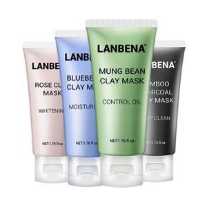 LANBENA Mung Bean Clay маска для лица розовая Глубокая чистка удаление жира бамбуковый уголь + черника сжимает поры Питательный Уход за кожей