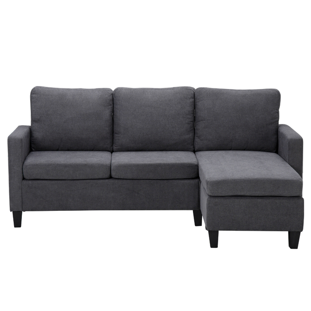 196x68x80CM Double Chaise Sofa Dark Grey  1