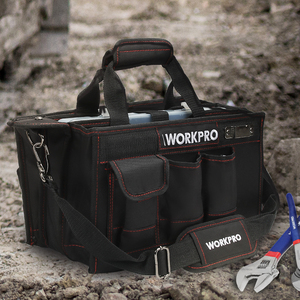 Image 5 - WORKPRO 600D Shoulder Tool Bag with Center Tray Waterproof Tool Kits Bags Pockets for Electrican Bags