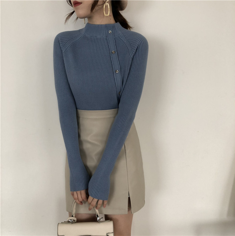 Korobov/корейские однотонные однобортные женские трикотажные изделия, винтажные синие Стрейчевые тонкие свитера с длинными рукавами Sueter Mujer ...