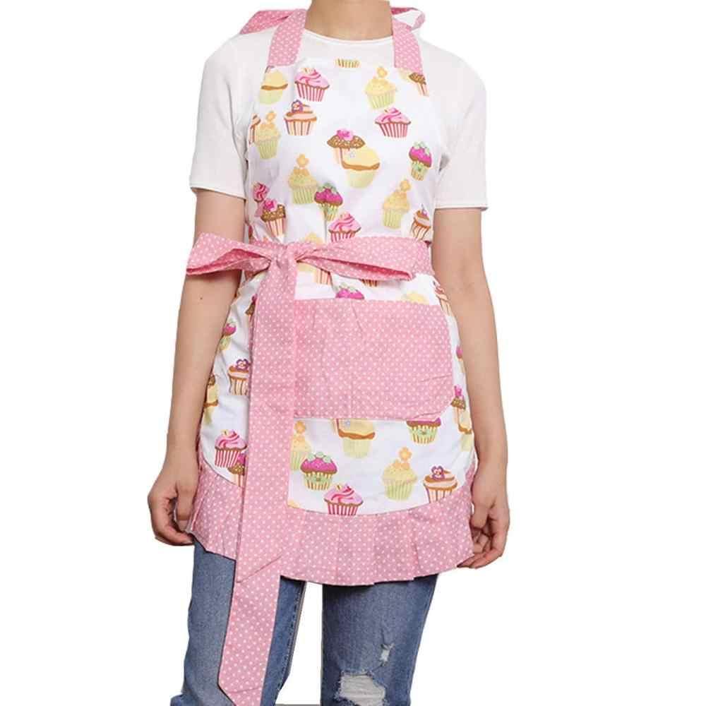 מעניין עוגת דפוס 100% כותנה סינרי נשים רטרו בציר מטבח בישול סינרי עם כיס