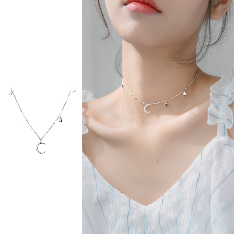 Moon Star Crystal Choker 925 Solid Silver Pendant Necklace Women Lady