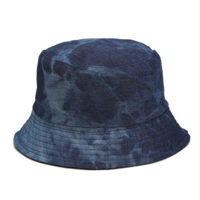 Tie Dye Denim Bucket Hat Cap Casual Jean Reversible Panama Spring Summer Two Side Wear Women Sun Hat Outdoor Hiking Fishing Cap