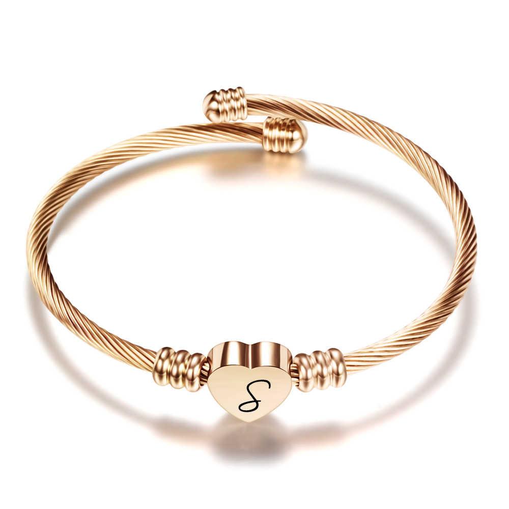 Darmowe grawerowanie początkowe alfabet serce mankiet bransoletki kobiety biżuteria list ze stali nierdzewnej bransoletka na prezenty srebrny/złoty/różowy złoty