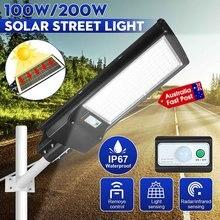 Lámpara farola Solar LED de pared con Control remoto para jardín, iluminación exterior de 100W/200W, IP67, con Radar remoto alimentado por energía Solar