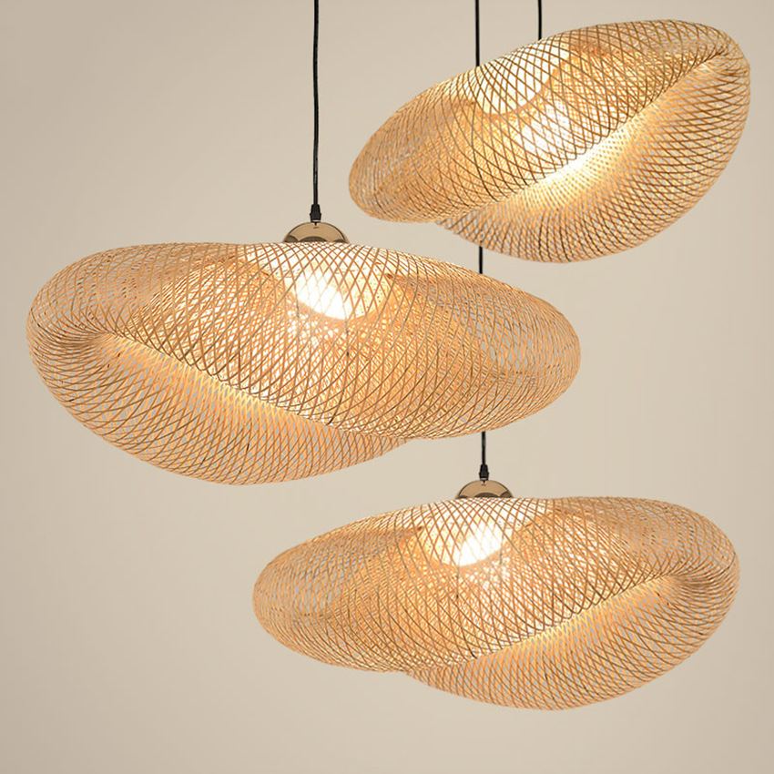 Modern Bamboo Hand Knitted Pendant Lights Chinese Classical Lamp Wood Pendant Lamp Indoor Lighting Coffee Kitchen Hanging Lamps|Pendant Lights| |  - title=