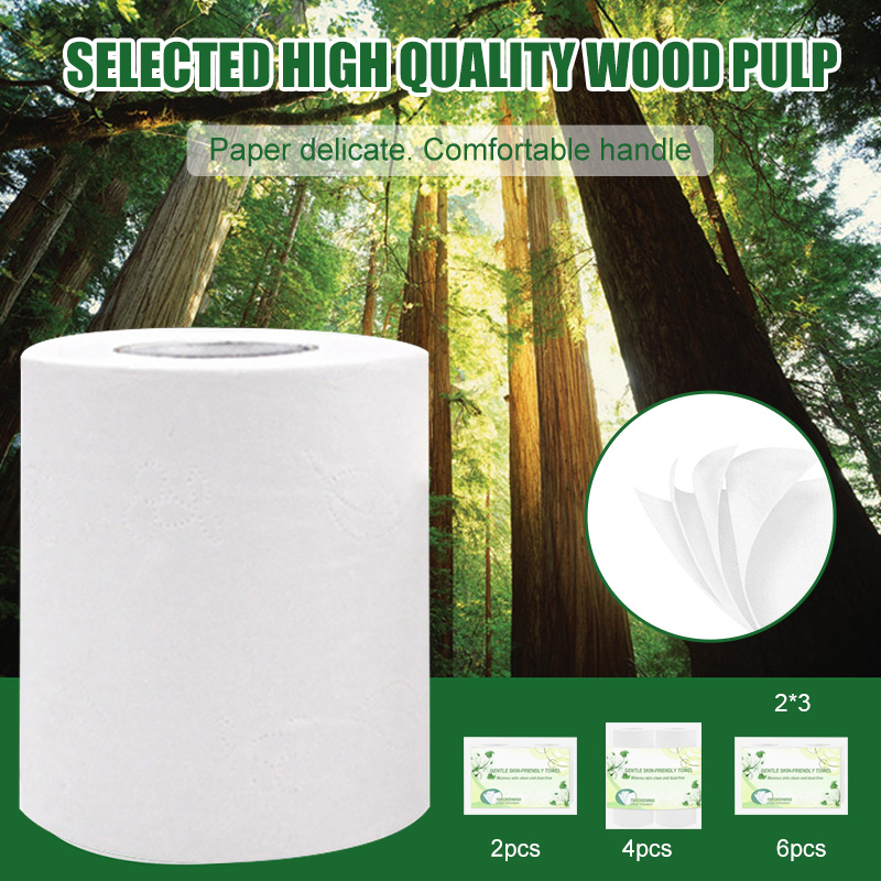2/4/6 Rolls Toilet Paper Tissue Household 4 Layers White Soft Skin-Friendly For Bathroom FS99