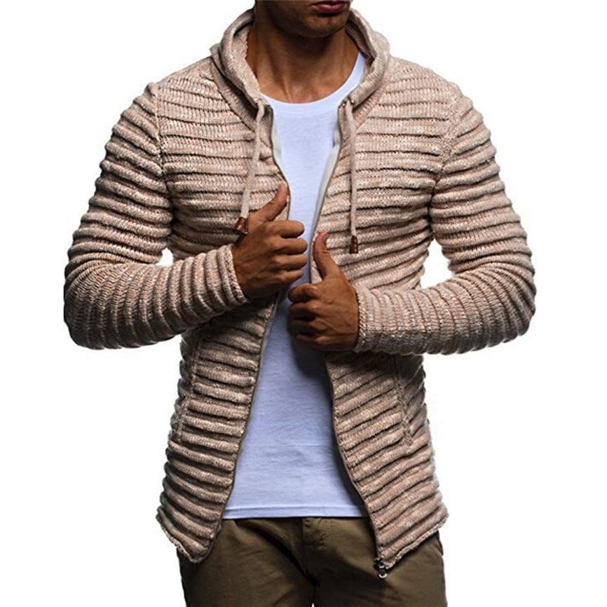 Men s Autumn Winter Solid Knit Stripe Coat Long Sleeve Durable Daily Wearing Outwear Fashion Innrech Market.com
