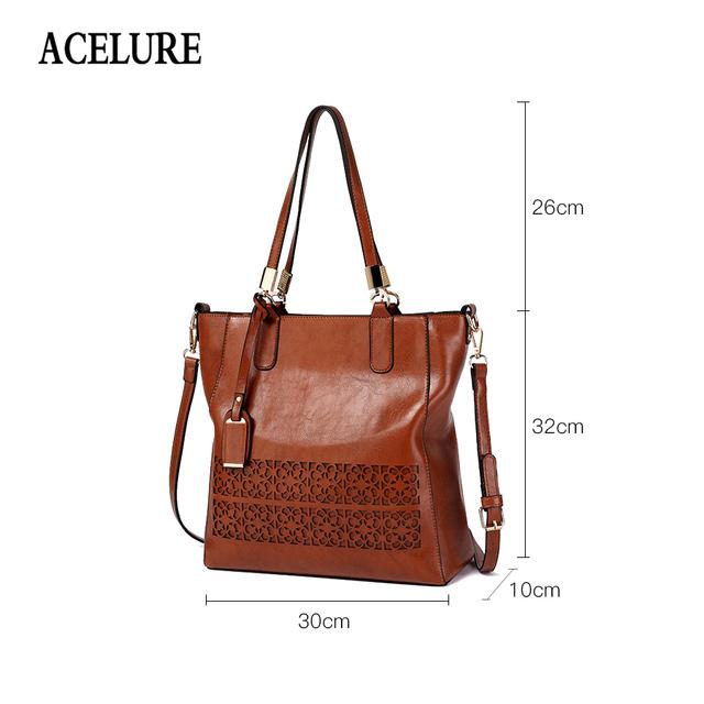 ACELURE Brand Women's Shoulder Bag Female PU Leather Handbag Women Bags Designer High Quality Hollow Out Large Capacity Tote Bag
