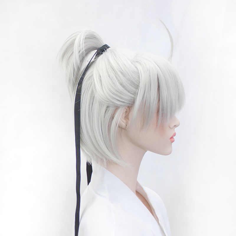 WEILAI Shenjianxin Cosplay pruik Zilver wit Oude pruik Kort haar Hoge kwaliteit hoge temperatuur fiber