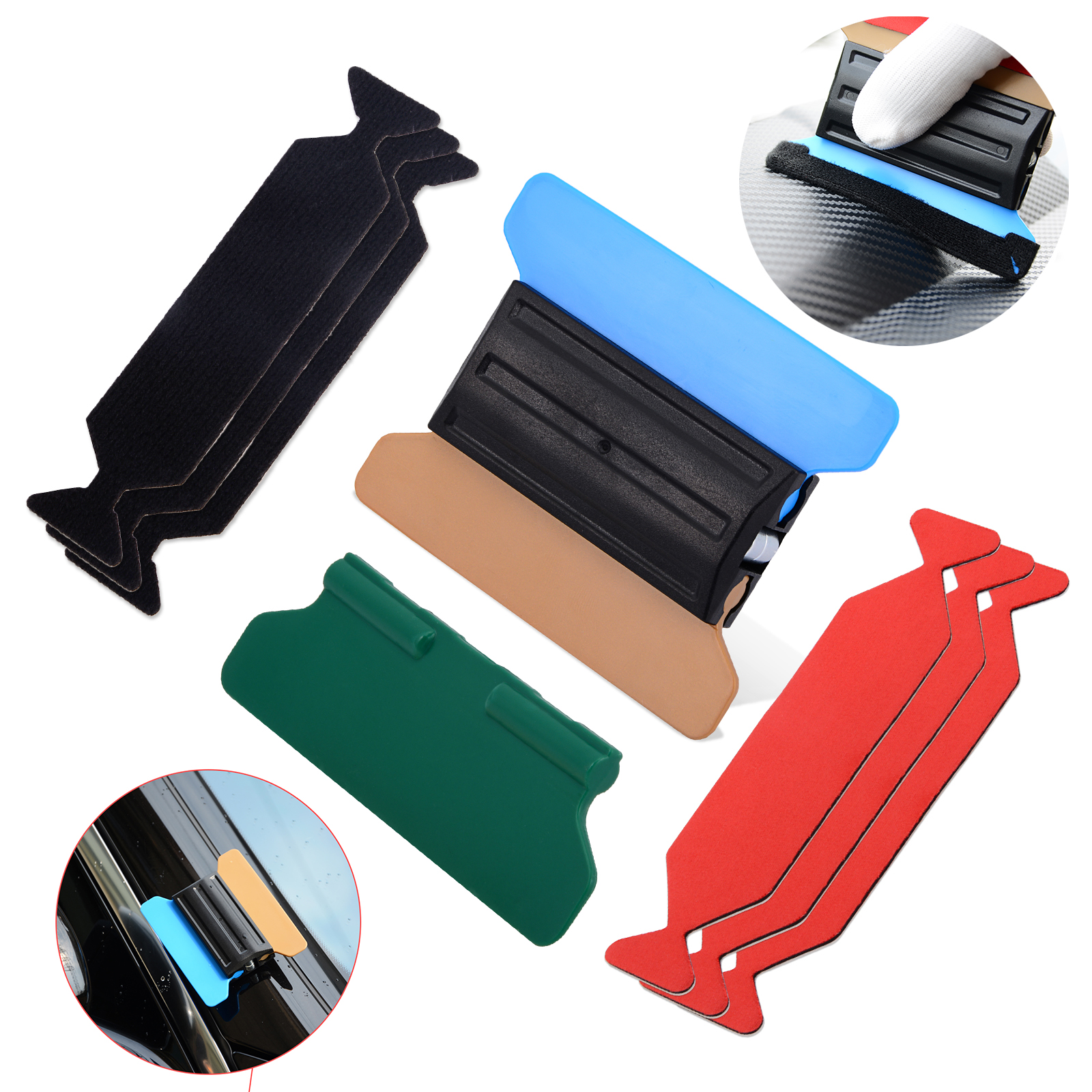 FOSHIO Vinyl Wrap Car Film Magnetic Squeegee With 6pcs Scrapper Fabric Cloth Carbon Fiber Window Tint Tools Set Auto Accessories