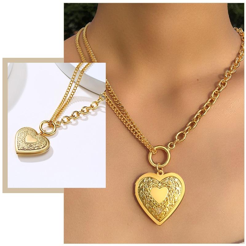 Frauen Herz Liebe Foto Rahmen Halsketten Schmuck Kann Geöffnet Werden Edelstahl Beziehung Versprechen Sinnvolle Andenken Geschenke