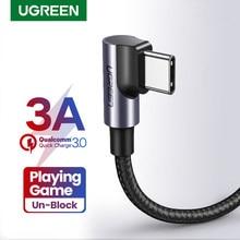 Ugreen USB C câble pour Samsung S9 S10 Plus Charge rapide 3.0 à angle droit USB Type C chargeur rapide câble de données pour jeu USB-C fil