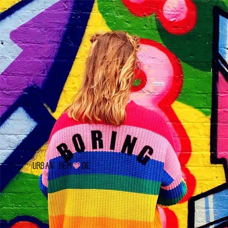 NiceMix осень 2019 Харадзюку Радужный кардиган женское свободное пончо летучая мышь негабаритных свитера с буквенной вышивкой джемпер