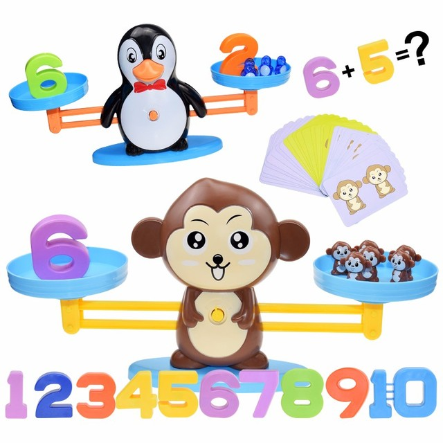 Montessori Math Toy Digital Monkey Balance Scale Educational Math Penguin Balancing Scale Number Board Game Kids Learning Toys 1