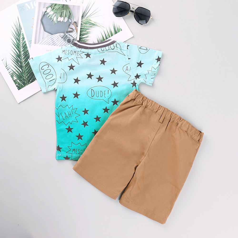 Little Boys Turquoise Black Plaid Short Sleeve Shirt 2 Pc Shorts Outfit 2T-7
