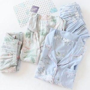 Image 4 - Ensemble pyjama pour femmes, imprimé de fleurs, vêtements de nuit en coton, confortable à manches longues, décontracté