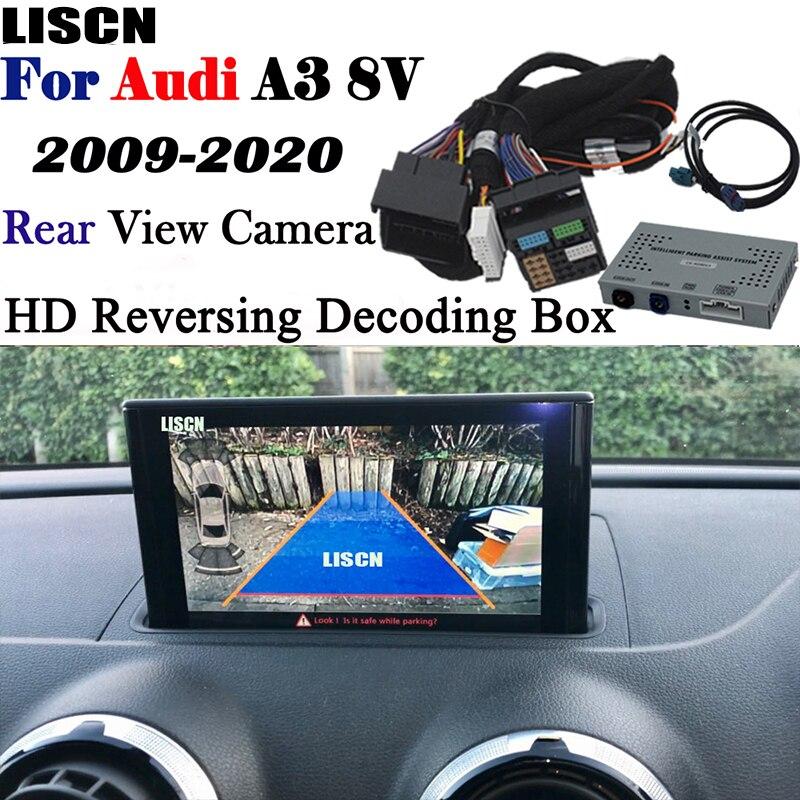 Cámara de marcha atrás para Audi A3 8v S3 8p MMI3G 2009 ~ 2020, adaptador de interfaz de cámara de respaldo, cámara frontal y trasera, decodificador mejorado