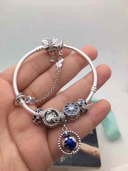 Quality Original 1:1 100%925 Sterling Silver Blue Star Safety Bracelet Free Shipping