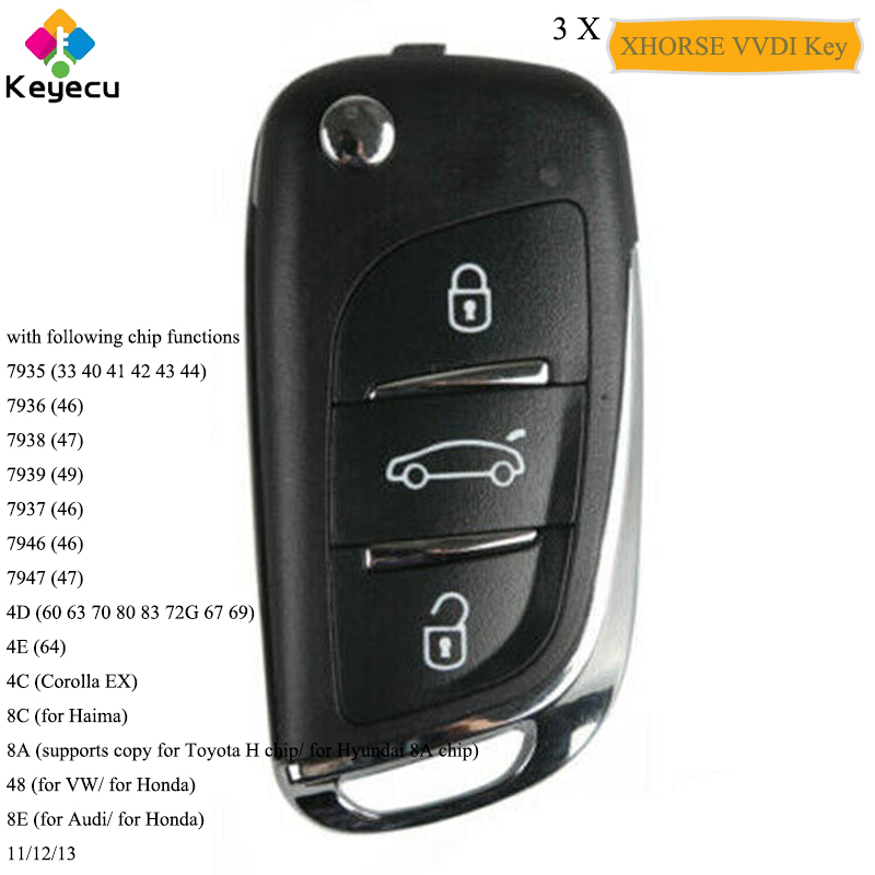 KEYECU 3PCS/Lot XHORSE DS Style Super Universal Remote Car Key Having Chip Function With 3 Btns   FOB for VVDI Remote Key Tool|Car Key| |  - title=