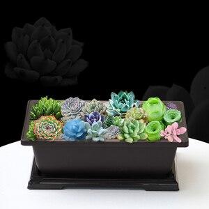 Image 5 - Planter bonsai Flower branch Pot Imitation Plastic Balcony Rectangle Bonsai Bowl pots Basin Nursery plastic Gardon Supply