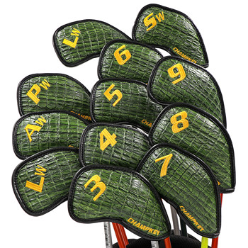 NEW Champkey Golf Iron Headcover 12pcs/set with Closure New Green Color Snake Thick PU Leather Surface
