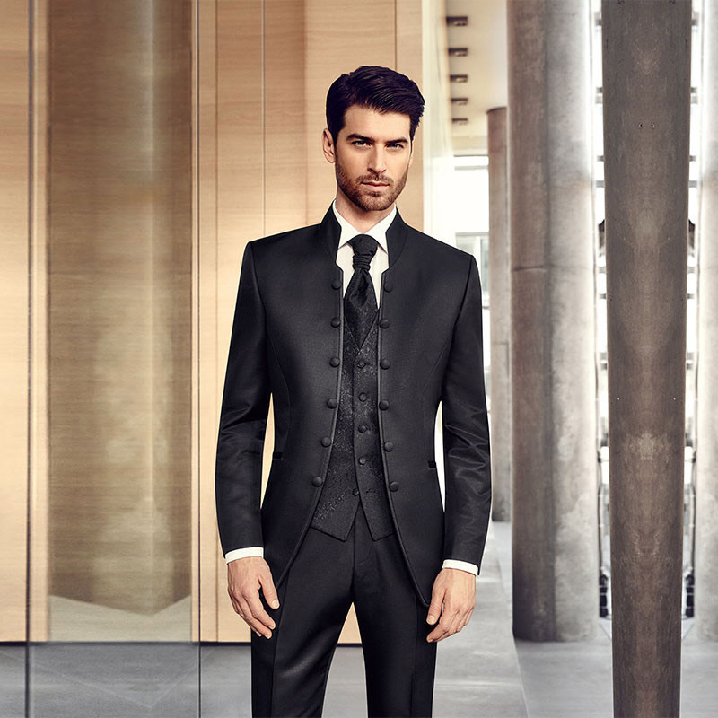 Fashion Mans Suits Stand Collar Wedding Groom Mens Suits Slim Fit Bridegroom Tuxedos For Men Suit Custom Size Three Pieces Suit