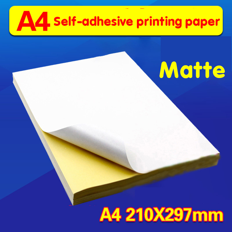 100 A4 White Ink-jet Laser Printer Copier Process Adhesive Matt Writing Paper Sticker Paper Printable  Vellum Paper