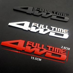 1 Uds 4WD Metal 3D cromado pegatinas de coche Etiqueta de estilo de coche a tiempo completo 4wd pegatina para Mitsubishi Mazda TOYOTA Cadillac FORD