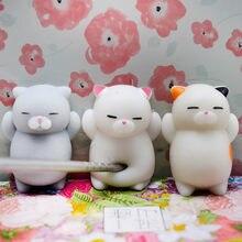 3 pçs bonito mochi cat squeeze cura divertido crianças kawaii brinquedo alívio do estresse brinquedo leve e divertido beliscando brinquedos