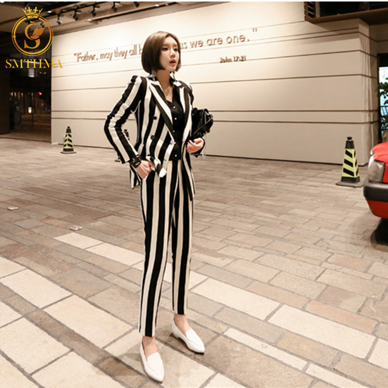 SMTHMA HIGH QUALITY Runway Long Pant Suits Women Casual Office Business Suits Formal Work Wear Sets  Elegant Stripe Pant Suits