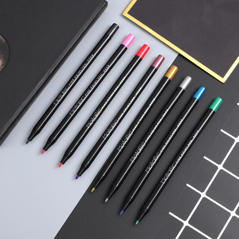1 rotulador de color metalizado de 8 colores para Arte de papel negro Material de papelería