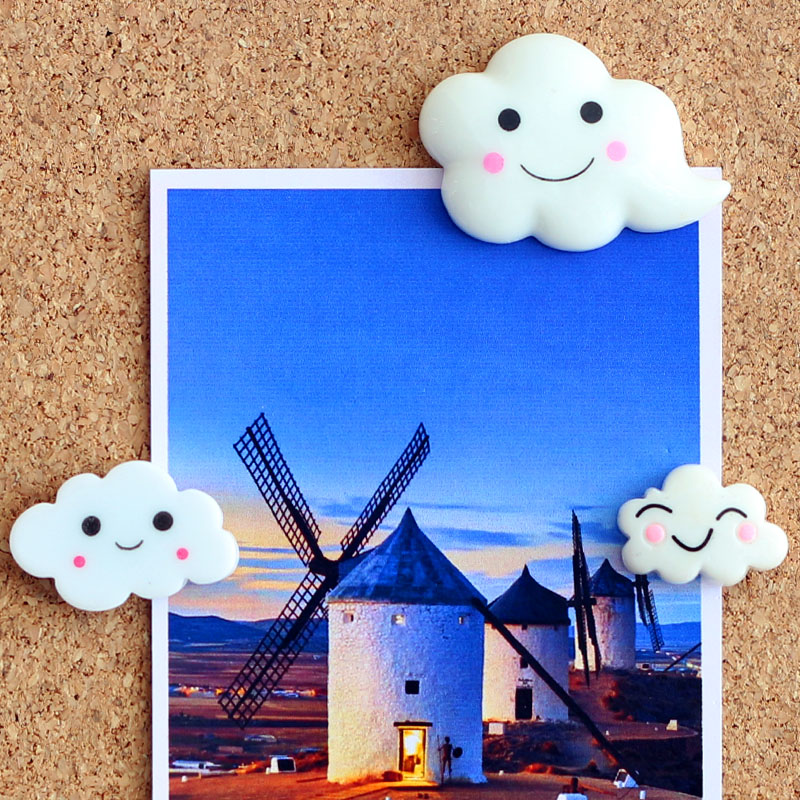 1set Plastic Push Pin Thumbtack Creative Cartoon White Cloud Pushpin Photo Wall Thumb Tack Creative Stationery Office Supplies