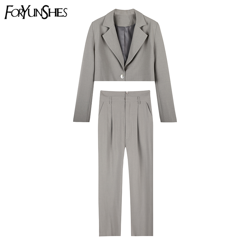 FORYUNSHES 2 Pieces Set Women Blazers Suits 2020 Autumn Korean Style Solid Chic Short Blazer + Suit Pant Female Casual Suits