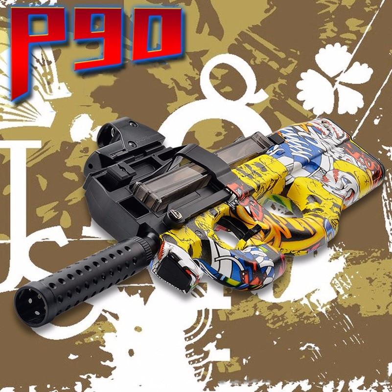 P90 Electric Mode Water Gun For Children's Outdoor Games Rifle Shooting Games Airsoft Gun Toys 7-8mm Water Bullet Gun Kids Gifts